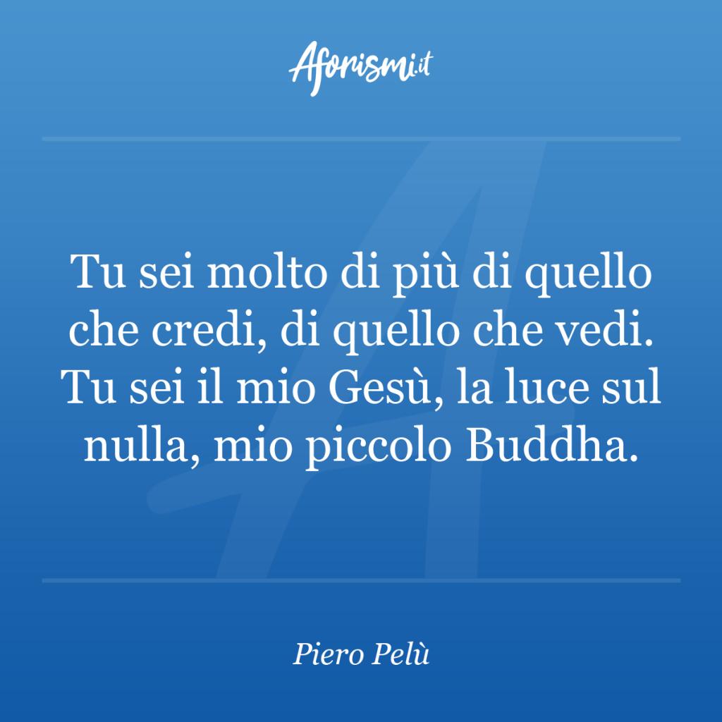 Aforisma Piero Pelù - Tu sei molto di più di quello che credi, di quello che vedi. Tu sei il mio Gesù, la luce sul nulla, mio piccolo Buddha.